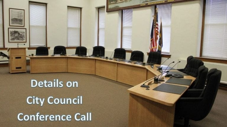 Details for calling in to April 9, 2020, City Council conference call