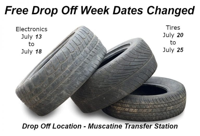 Free drop off week for tires, electronics moved to July