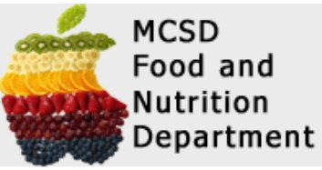 Muscatine Schools Food and Nutrition Department Logo. Multicolored Apple