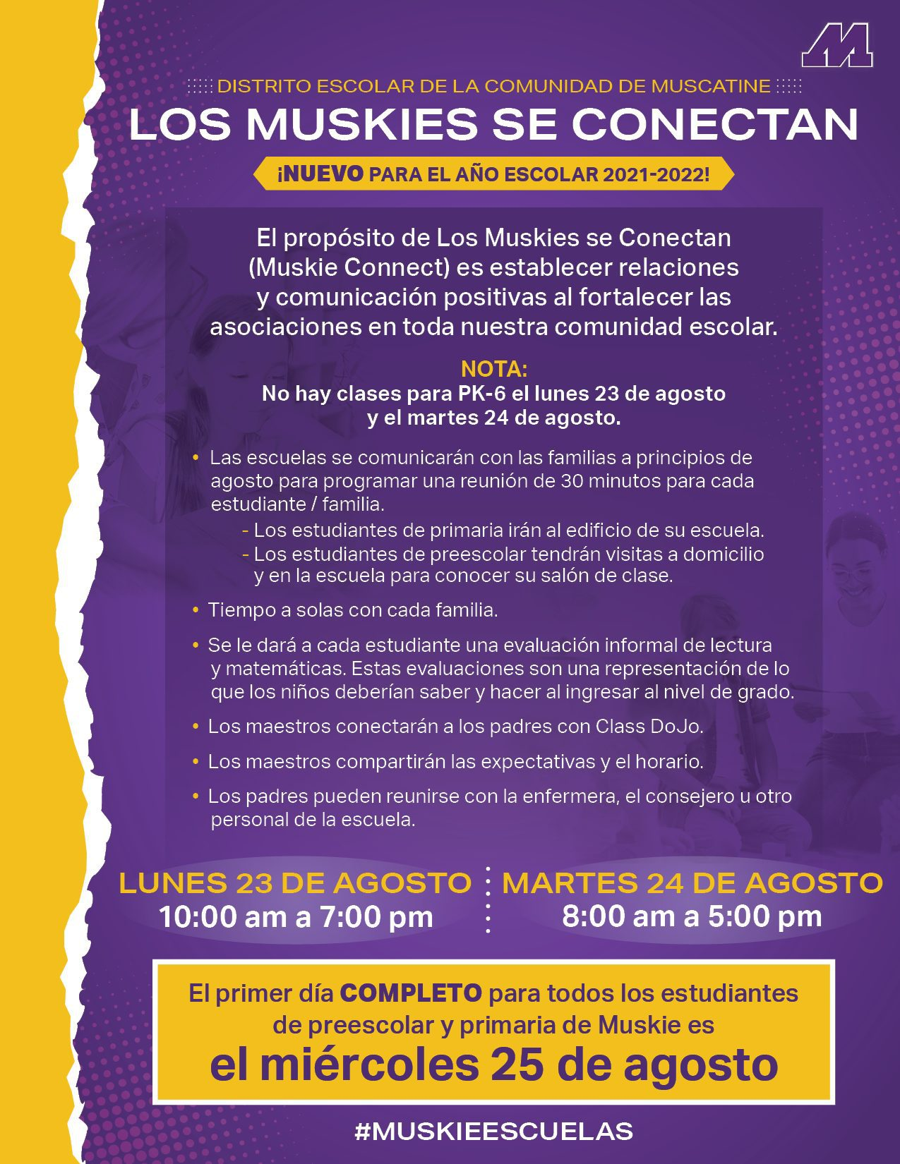 Muskie Connect new back to school plan for preschool to 6th grade students. This is the flyer that outlines that in Spanish.