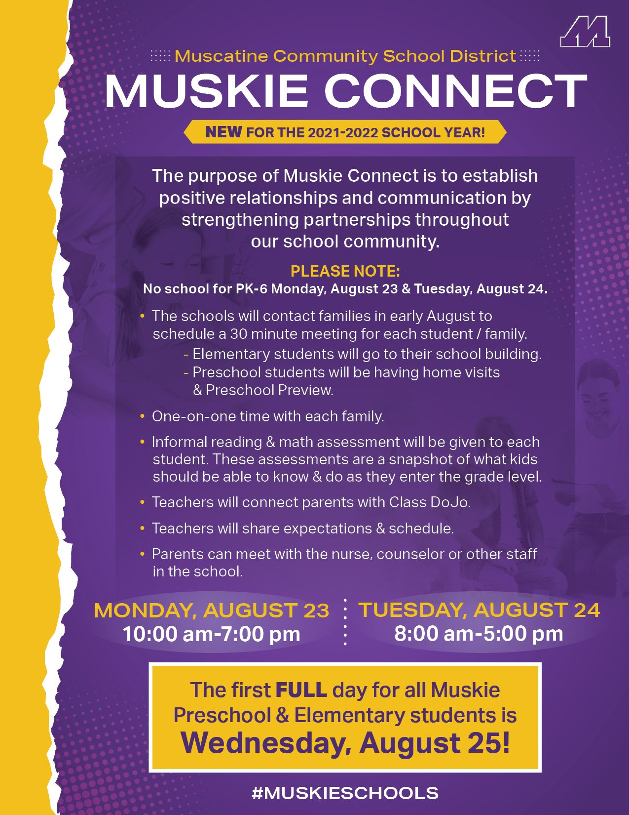 Muskie Connect new back to school plan for preschool to 6th grade students. This is the flyer that outlines that in English.